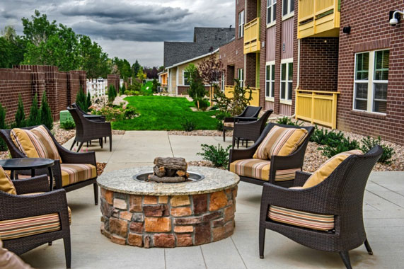 Outdoor Fire Pit at a Senior Living Community in Denver CO